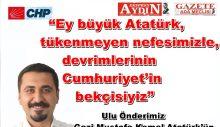 Ulu Önderimiz Gazi Mustafa Kemal Atatürk'ün sonsuzluğa gidişinin 82. Yılında Ata'mızı özlemle yad ediyoruz.