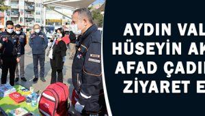 Vali Aksoy, AFAD Çadırını Ziyaret Etti